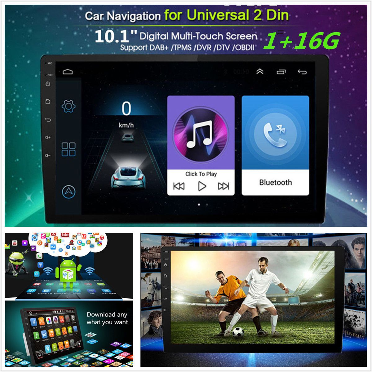 """10.1/"""" 2DIN Android 8.1 Car Stereo Quad Core WIFI DAB GPS Nav Radio Video Player"""