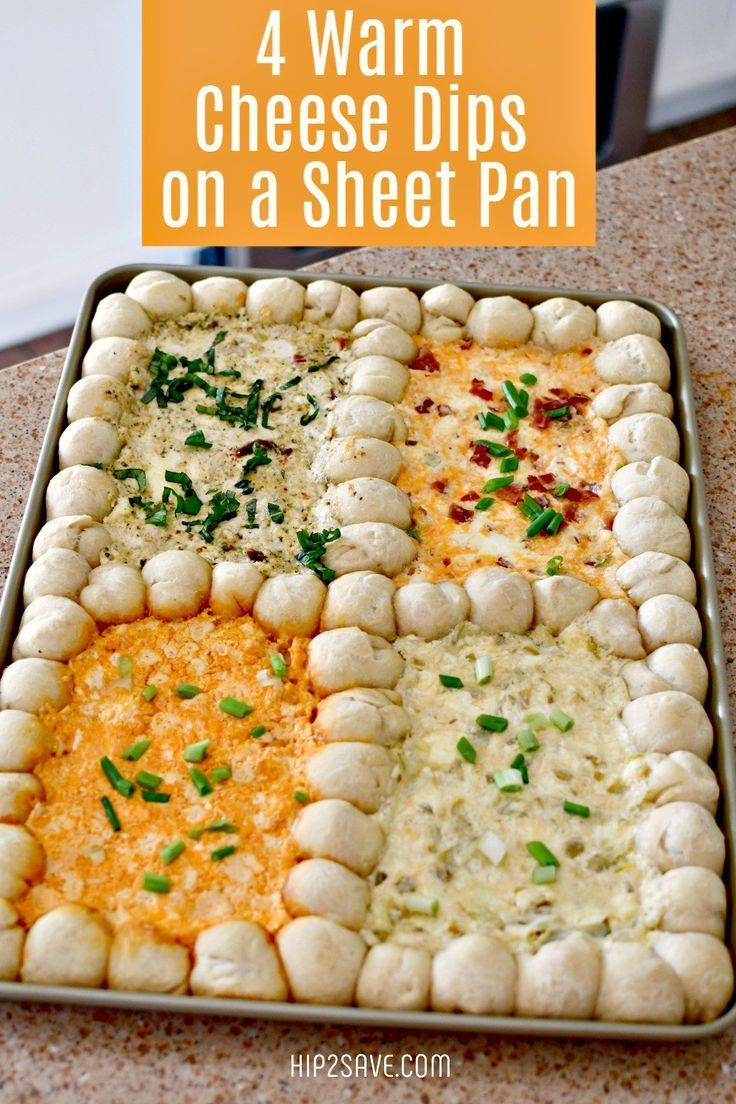 4 Warm Cheese Dips on a Sheet Pan | Recipe in 2020 | Appetizer recipes, Yummy appetizers, Food