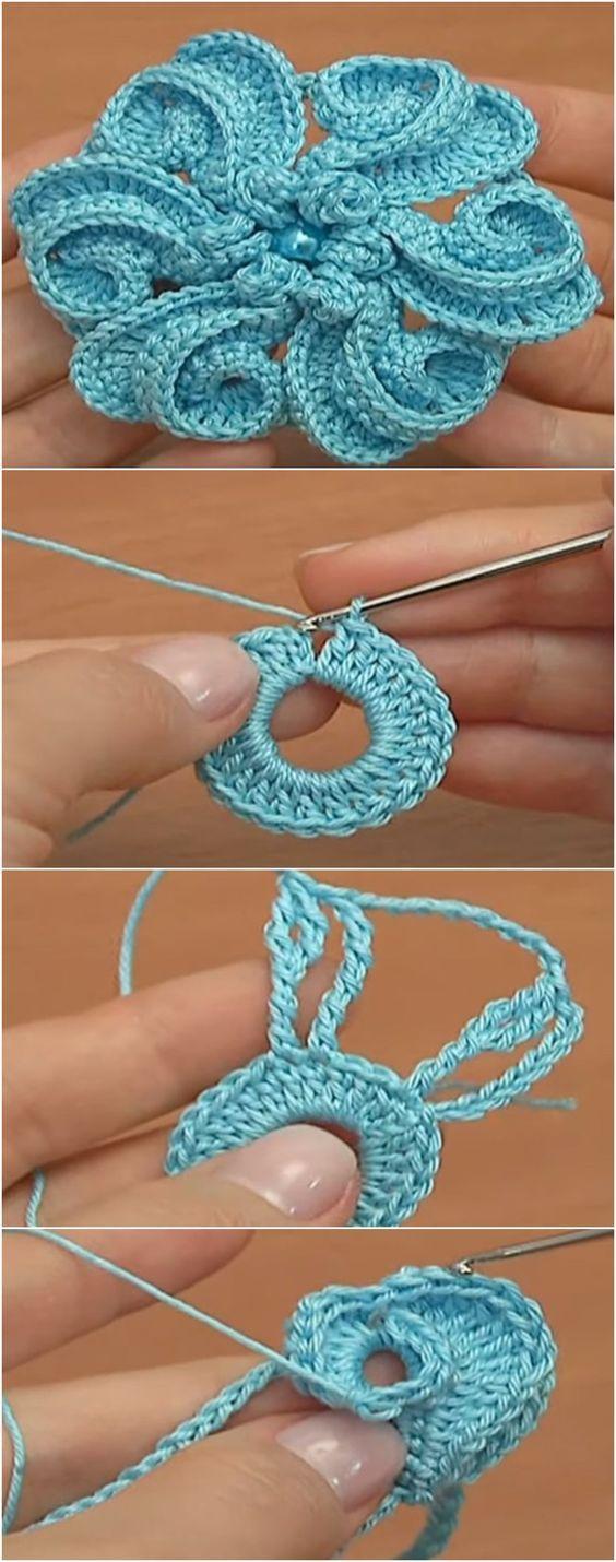 DIY Crochet Blue flower idée de modèle de crochet   – Häkeln