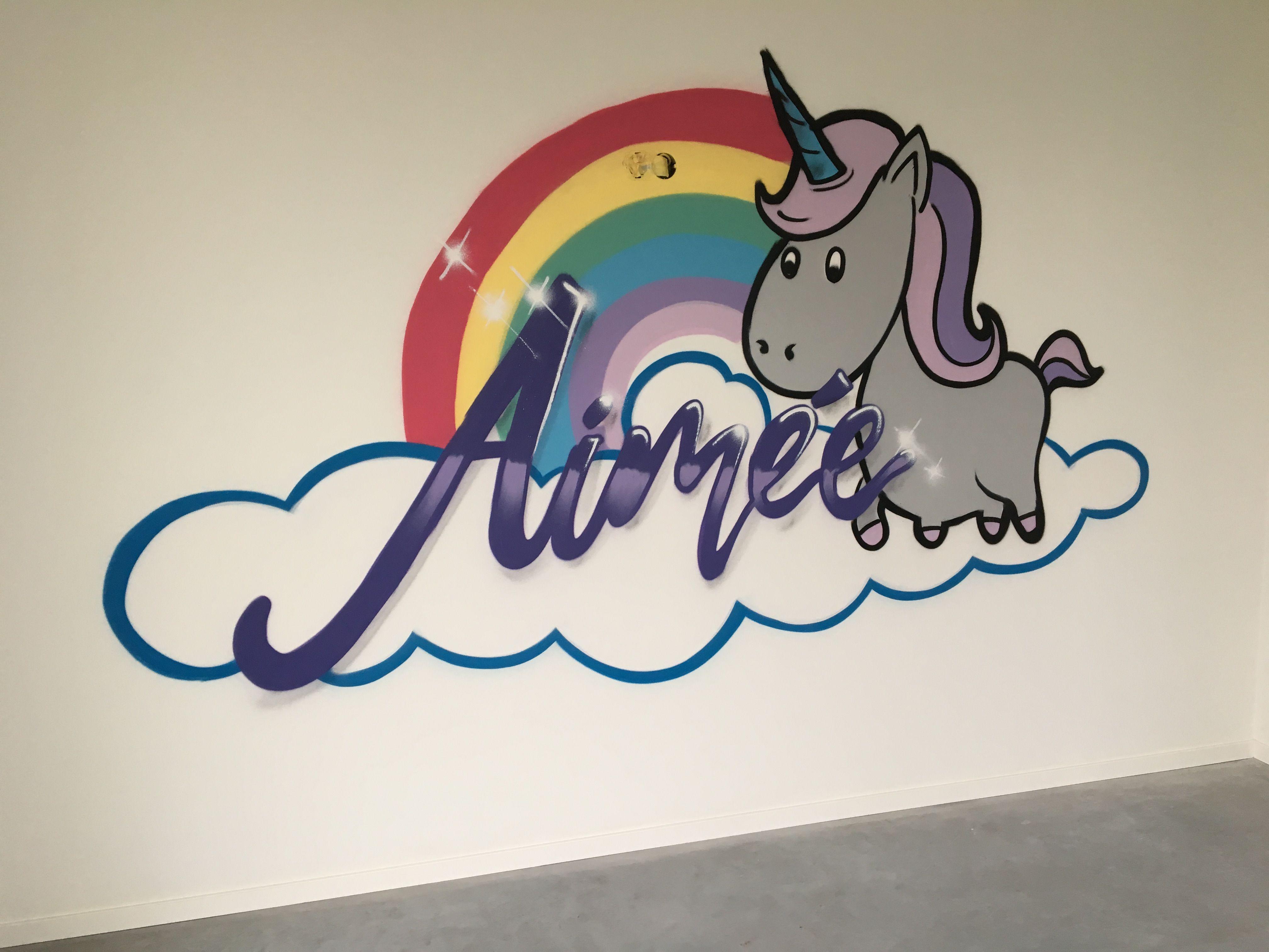 Aime unicorn graffiti slaapkamer unicorn meisjes meisjeskamer