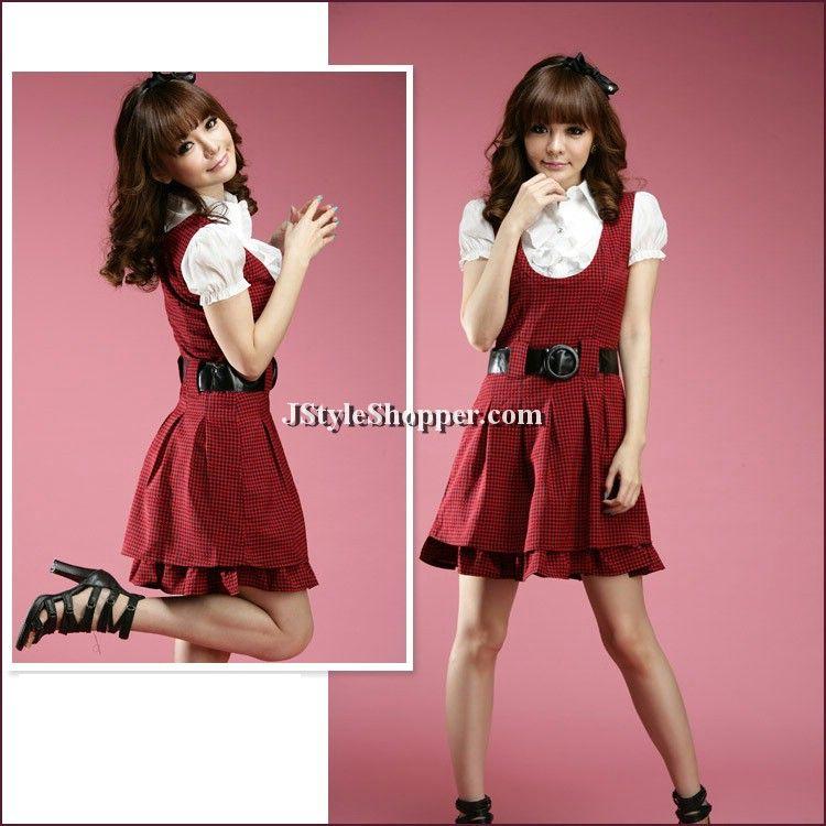 Lotus Neck Check Dress With Belt   #AsianFashion