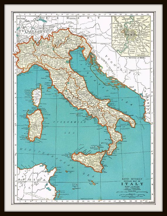 Antique Map ITALY SWITZERLAND By KnickofTime Antique Maps - Map of italy and switzerland