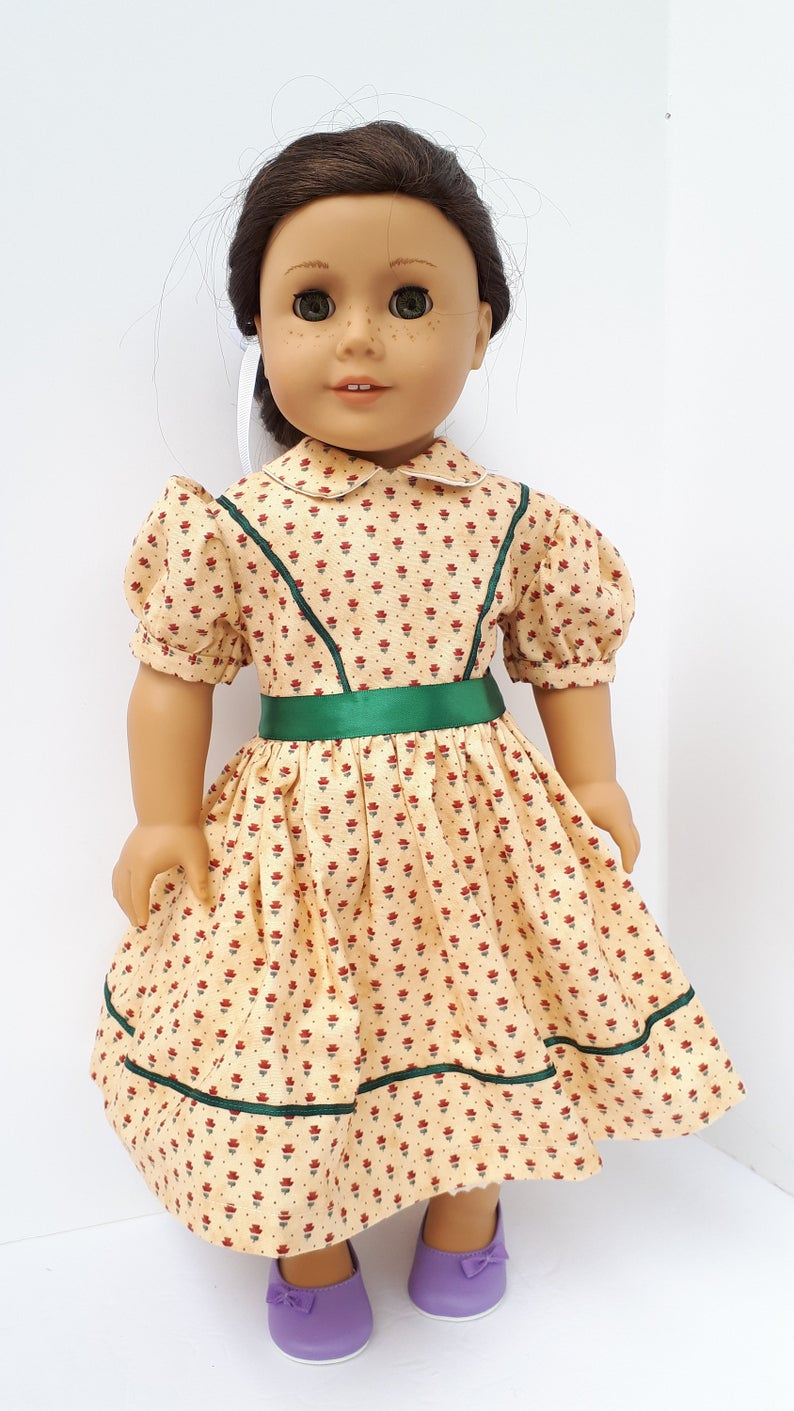 18 doll clothes - Civil war dress in a Creamy tan with flowers - To fit American Girl or other 18 dolls such as Addy #historicaldollclothes