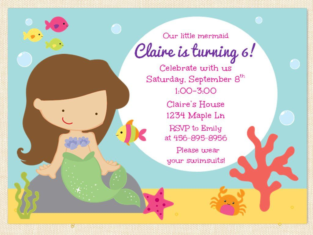 Mermaid Birthday Invitation Printable Under the Sea Swimming Party – Mermaid Party Invitations Printable