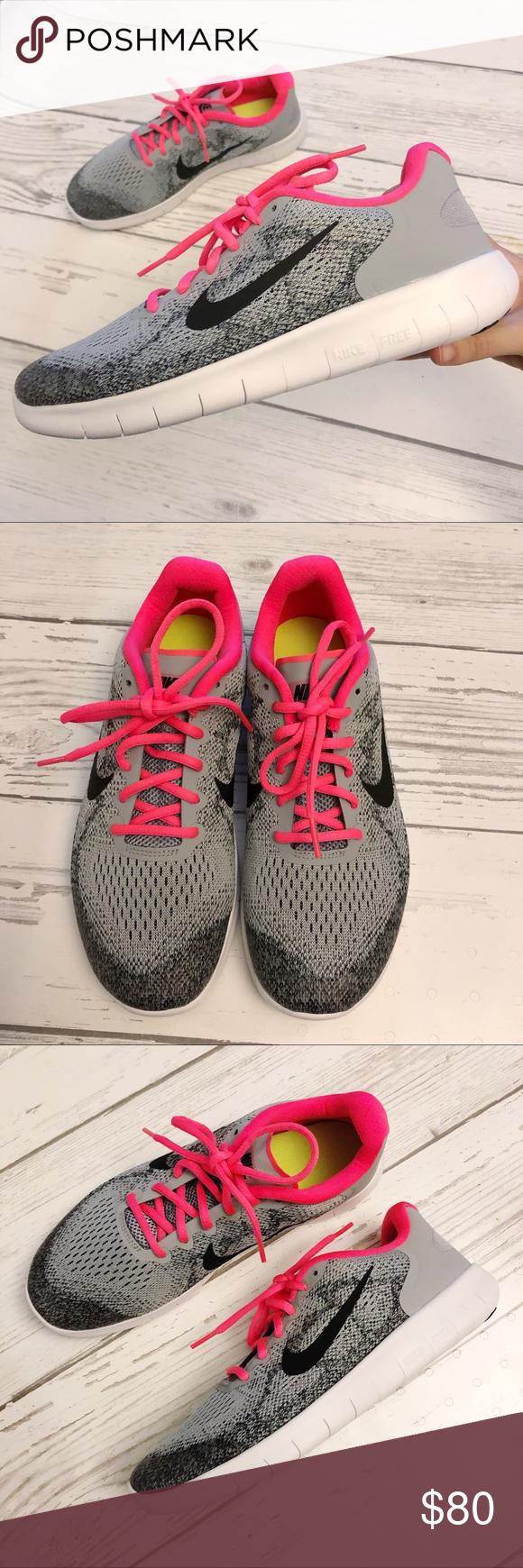 45ffa299f5f1 NEW Nike Free RN 2017 GS Wolf Grey Racer Pink Nike free run 2017 running  athletic