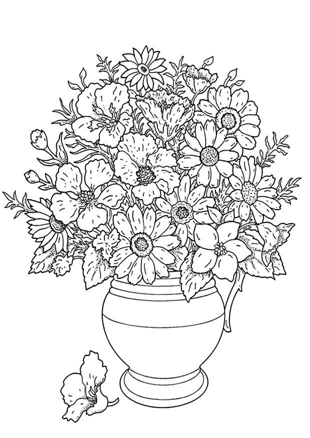 Kleurplaten Bloemen En Planten.Kleurplaat Bos Bloemen Coloring Page Bunch Of Flowers