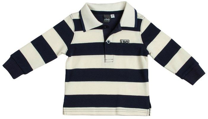 Polo para niño de manga larga en algodón de rayas en azul y crudo - Polos y  Camisetas Niño y Niña hasta los 4 Años - Mundo Kiriko 3667f4bcd989