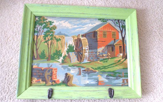 Paint By Number Framed Painting Hanger Green By Bitsandpiecesetc Vintage Painting Frames Frame Paint By Number