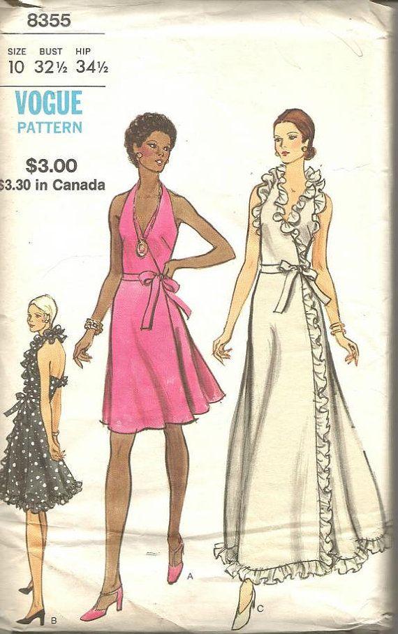 1970s Backless Plunging V Neck Wrap Dress Halter Dress Day Evening ...