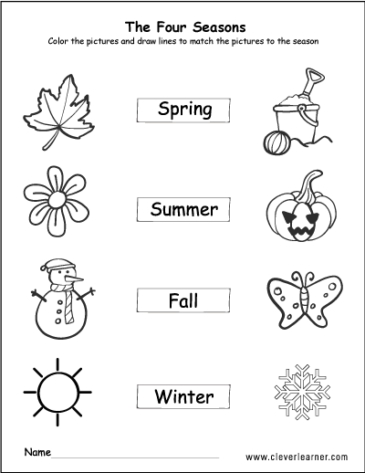 The Four Seasons Of The Year Worksheets For Preschools Seasons Worksheets Seasons Kindergarten Kindergarten Worksheets