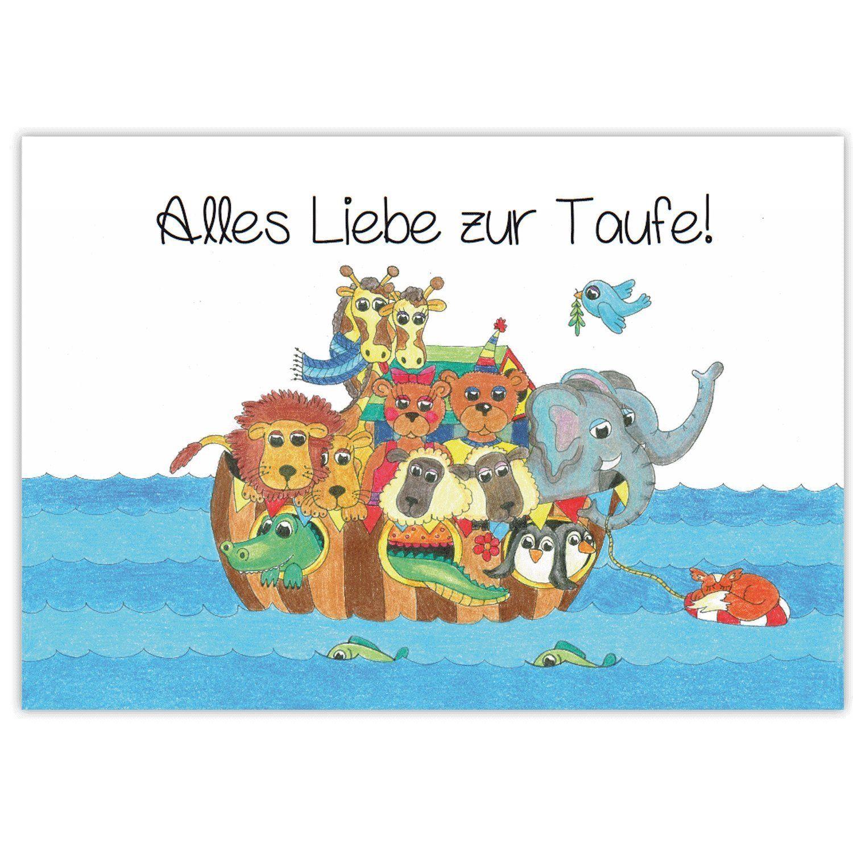 Arche Noah Mit Tieren Glückwunsch Zur Taufe Alles Liebe