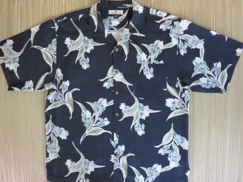 72c8b38d0 TOMMY BAHAMA Vintage Hawaiian Shirt Black Copyrighted Print Iris Art  Nouveau Tropical Floral 100% Silk Mens Camp - L- Oahu Lew's Shirt Shack by  ...