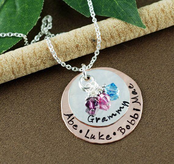 grandmother jewelry hand stamped grandma necklace nana necklace