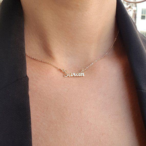ee3449d7ea58e 14 karat Gold Yellow or White Mini Name Necklace Dainty name ...