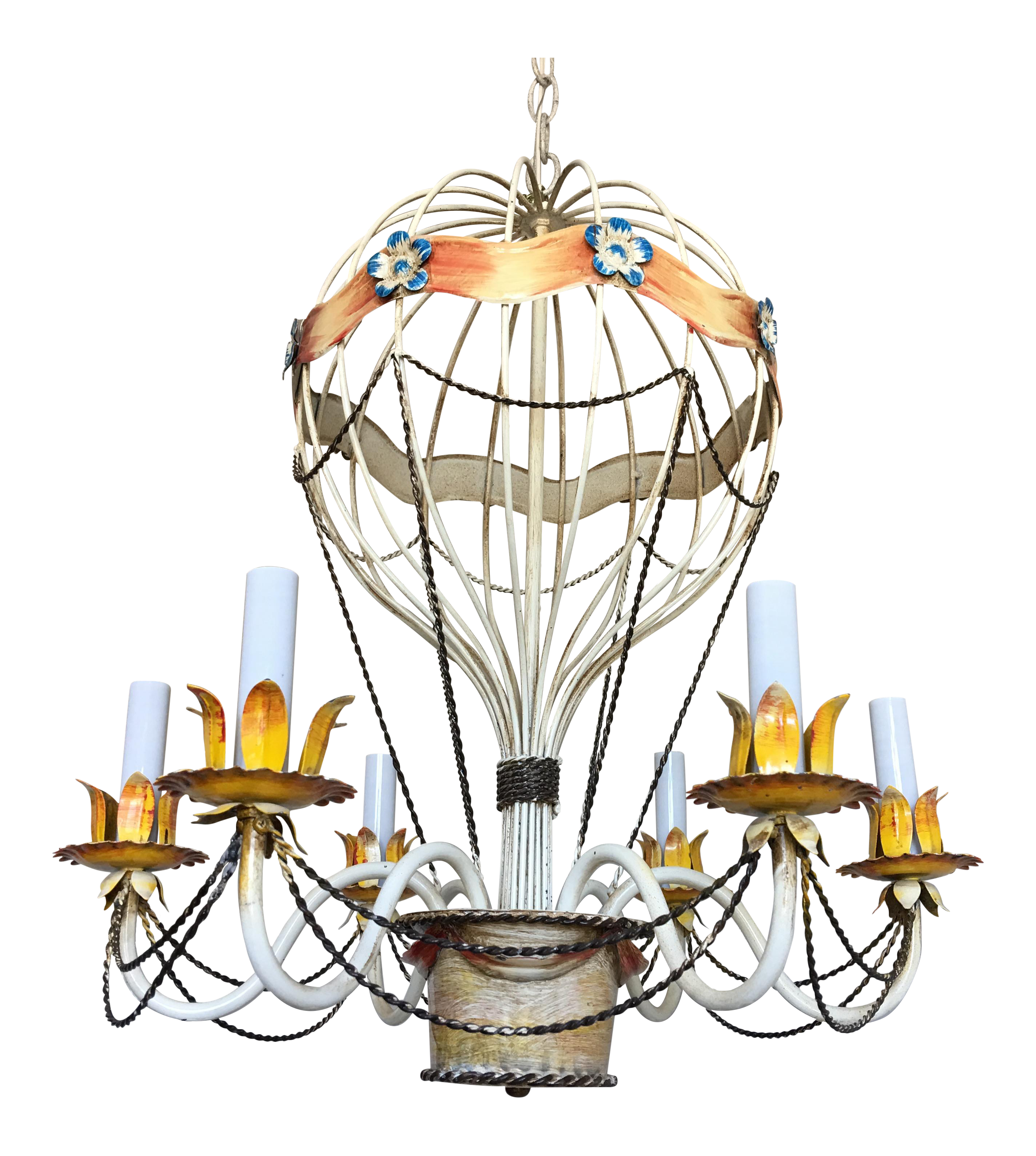 lot nyr air hot late light patinated cen form six a metal lotfinder details balloon chandelier