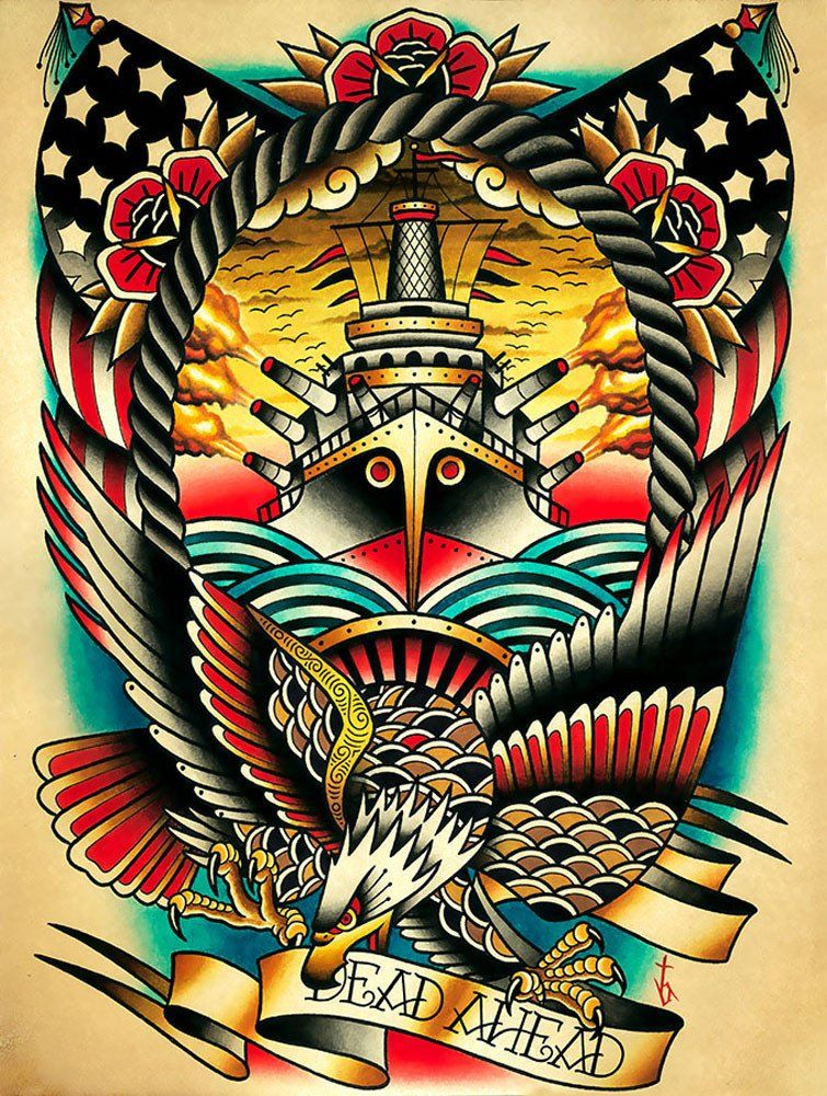 Refuge by Tyler BredewegTattoo Fine Art Print Eagle Mermaids Queen Mary Ship