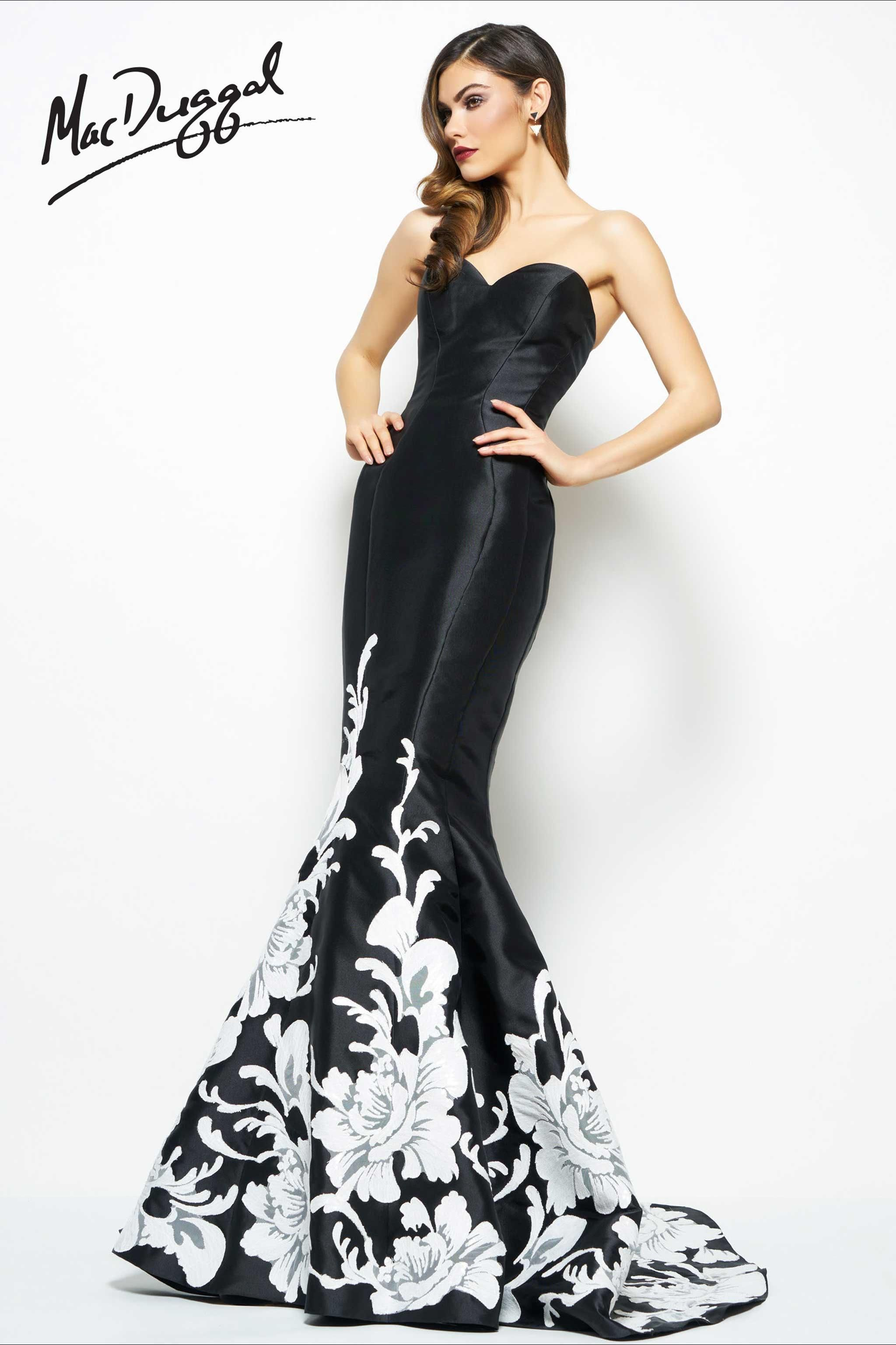 1b26293054f Black and Ivory Mermaid Evening Gown