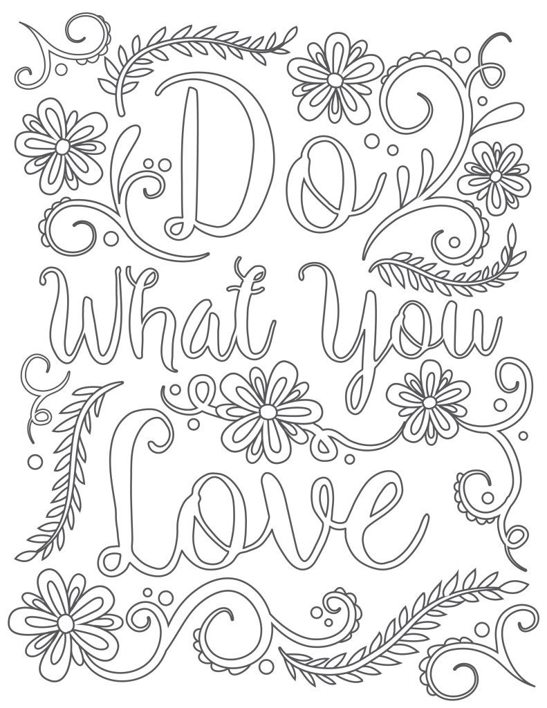 Printable coloring pages for adults with quotes - Free Adult Printable Coloring Sheet