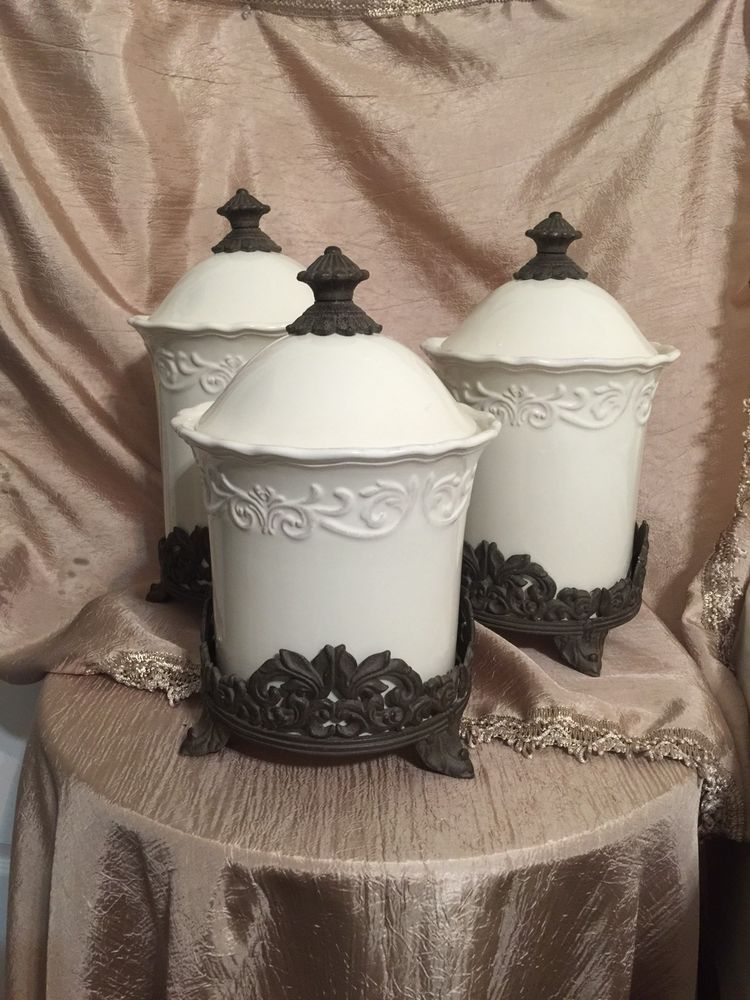 Chris Madden Ivory Corvella Canister Set With Brown Metal Hardware ...