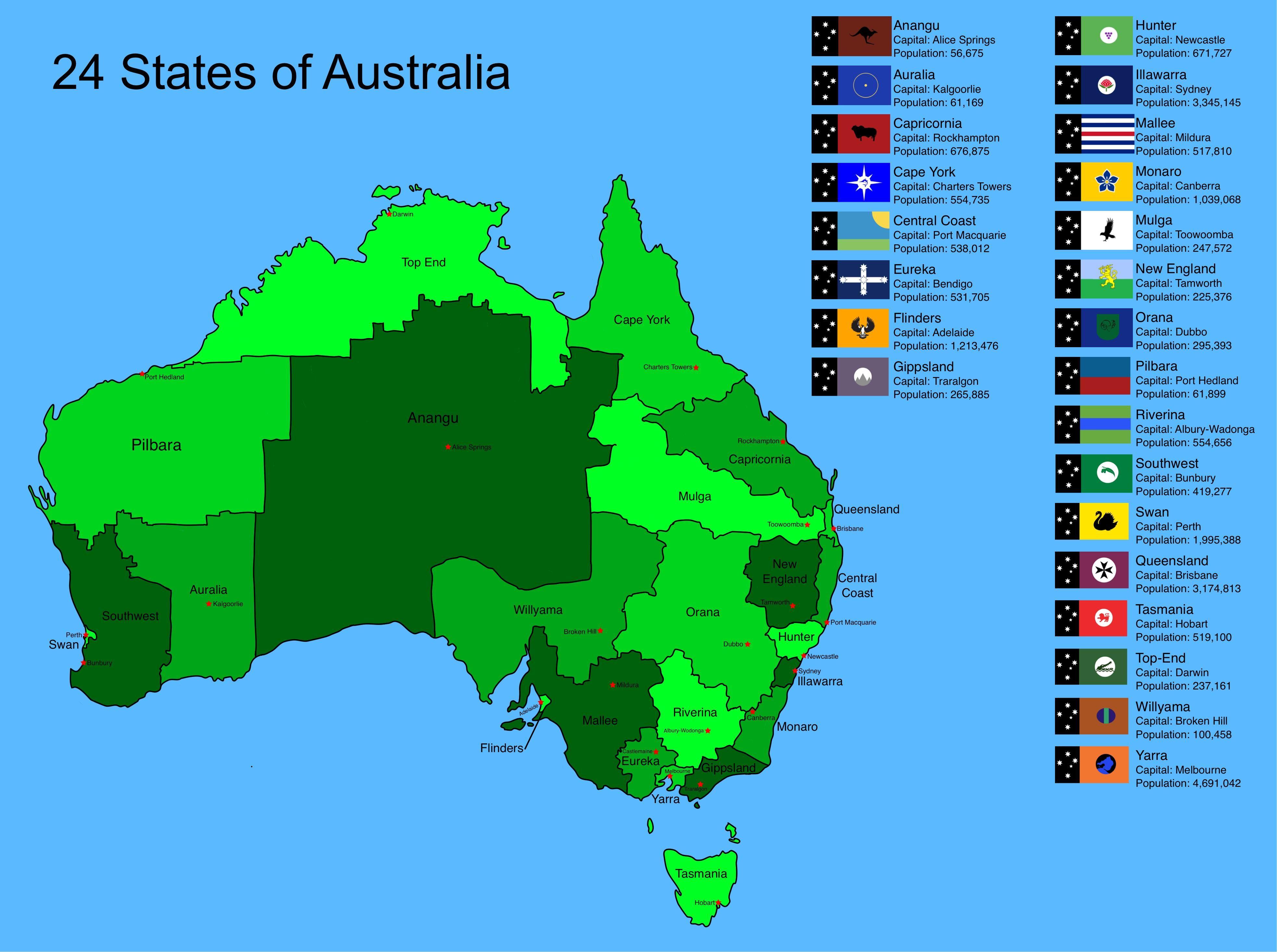 24 States of Australia Maps of Australia Australasia Pinterest
