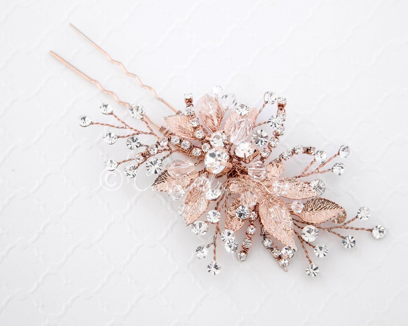 Rose gold bridal hair pin of crystals and leaves i wish uc
