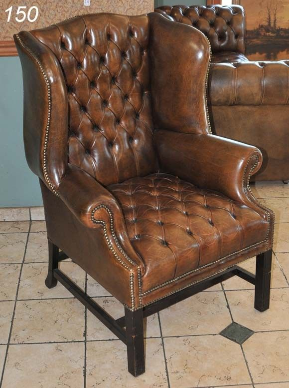 150 Brown Leather Tufted Wingback Chair 44 Quot High Lot