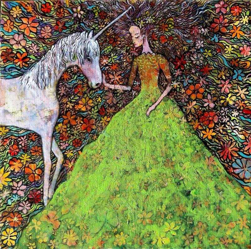 lady and unicorn in field of bright flowers