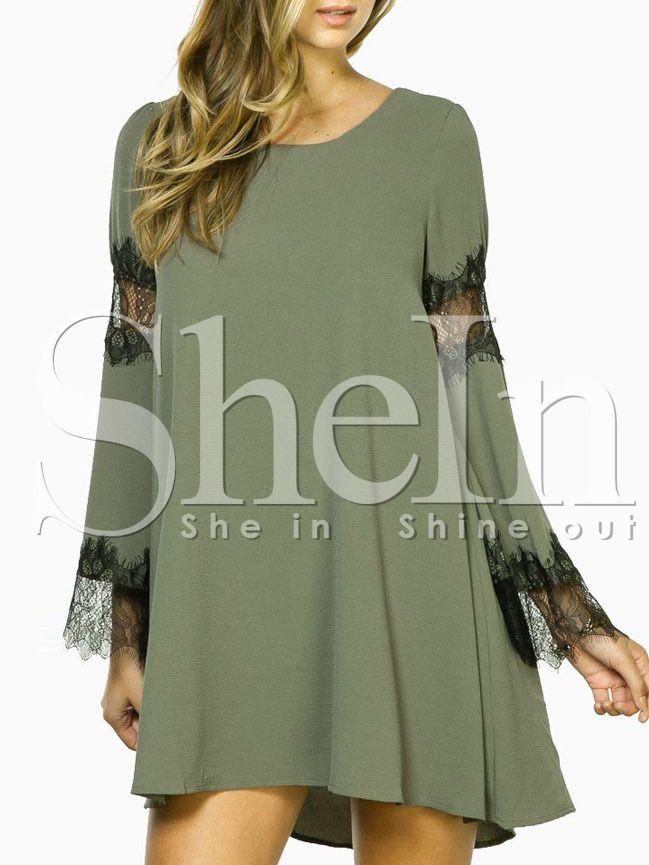 Green Eyelash Lace Inset Detail Swing Dress 16.99