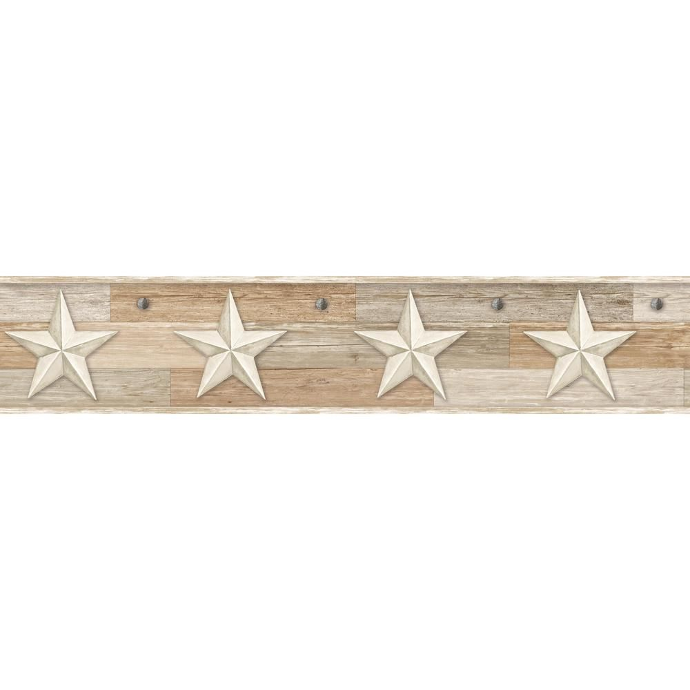 York Wallcoverings Pallet Star Wallpaper Border, Beiges