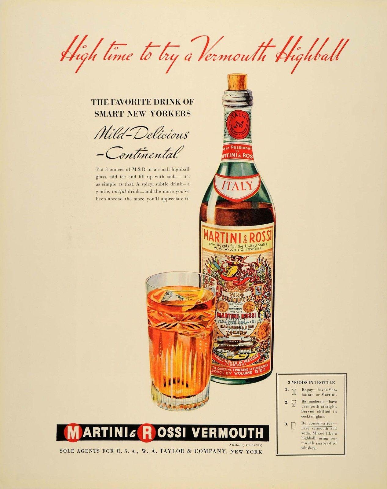 Martini & Rossi Vermouth Vintage Ad martini vermouth