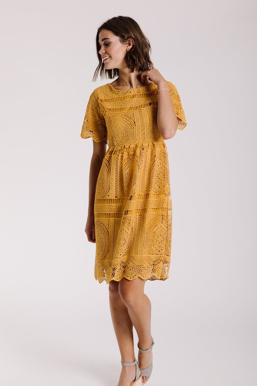 The Chenoa Lace Detail Dress In Mustard Modest Dresses Lace Summer Dresses Yellow Lace Dresses [ 1300 x 867 Pixel ]