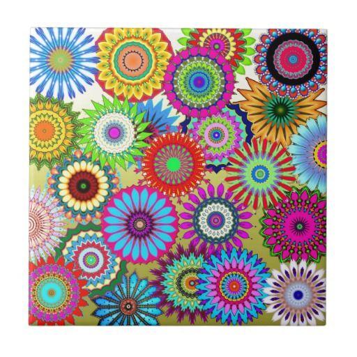 Mosaicos coloridos dos caleidoscópios dos padrões azulejo quadrado pequeno