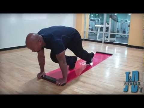 J and D Fitnessd Group demonstrates Conditioning using the slide board