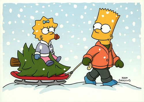 Simpsons Christmas postcard