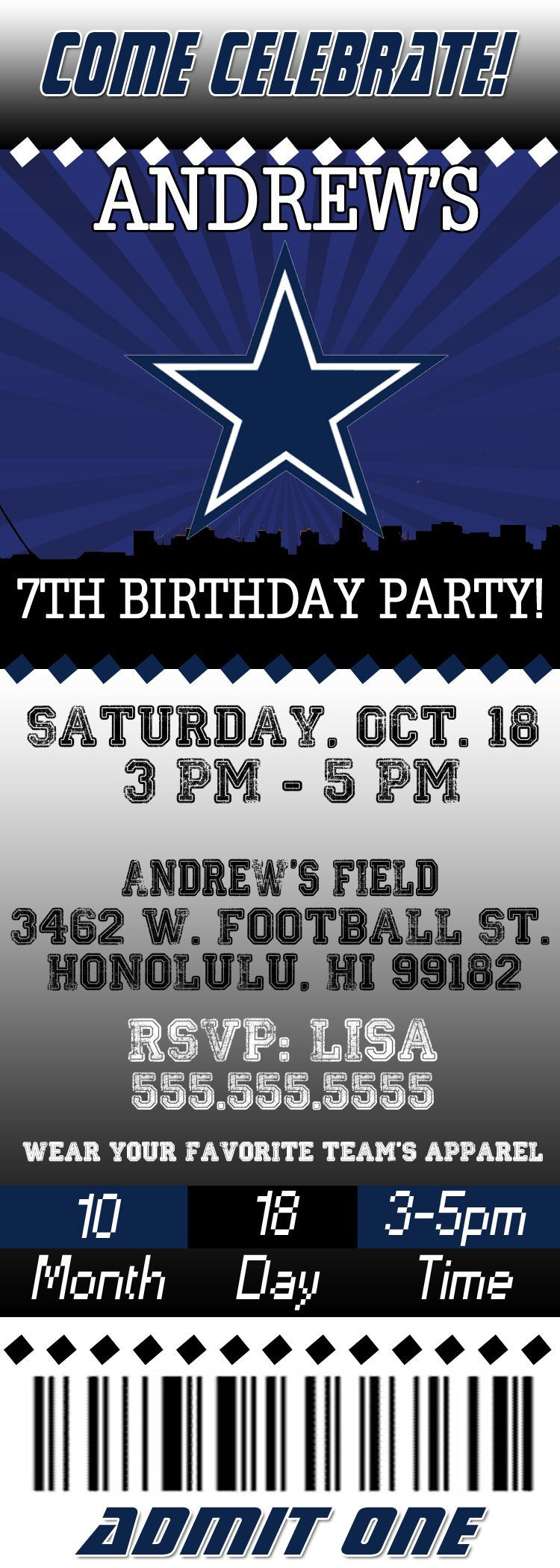 NFL Dallas Cowboys Birthday Invitation – Dallas Cowboys Birthday Invitations