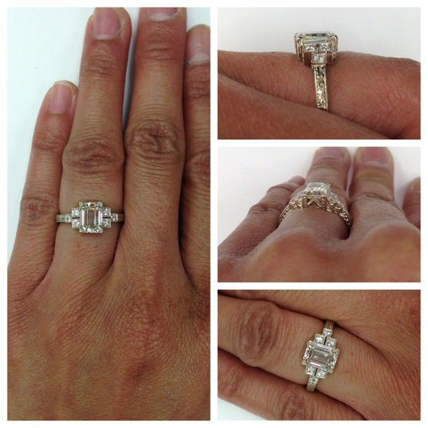 Helloooo, Lover. Can't get enough of this 1.34ct Emerald cut diamond set in our hand engraved 18kt natural white gold mounting. A hand crafted Single Stone original. (213) 892-0772 www.singlestone.com @singlestonemissionstreet #picstitch #diamonds #emerald #whitegold #18kt #engagement #wedding #bling #artdeco #deco #gatsby #heirloom #heart #wow #sparkle #future