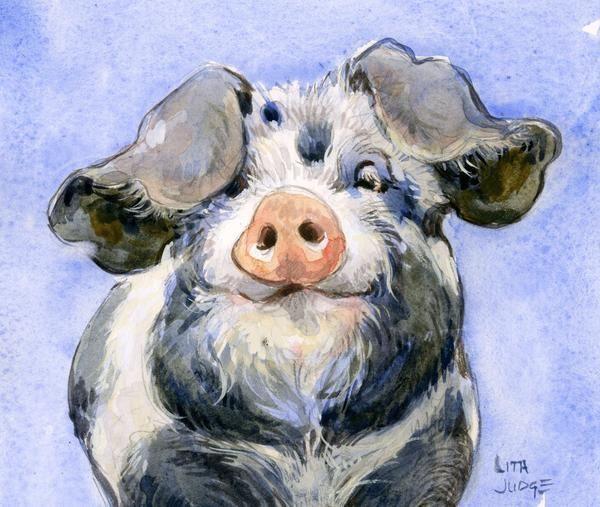 Pig – Original watercolor painting. Estás en el lugar correcto para decoracion …