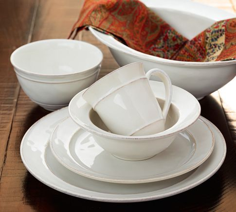 Cambria Dinnerware - Stone | Pottery Barn... I want to start ...