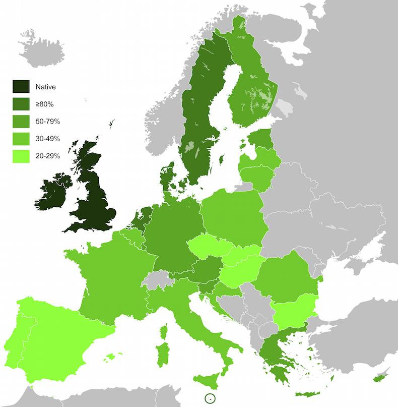 карта Английский язык в Европе