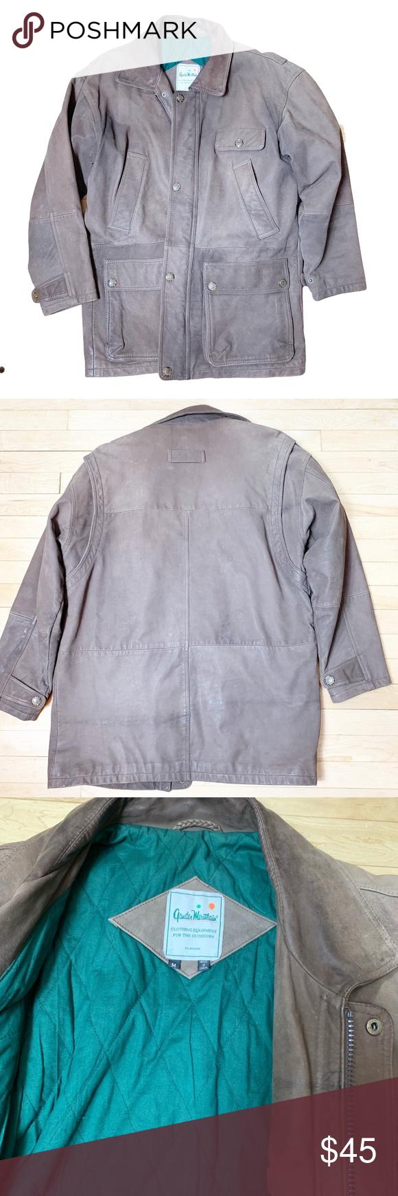 Gander Mountain Med. brown leather barn coat Brown