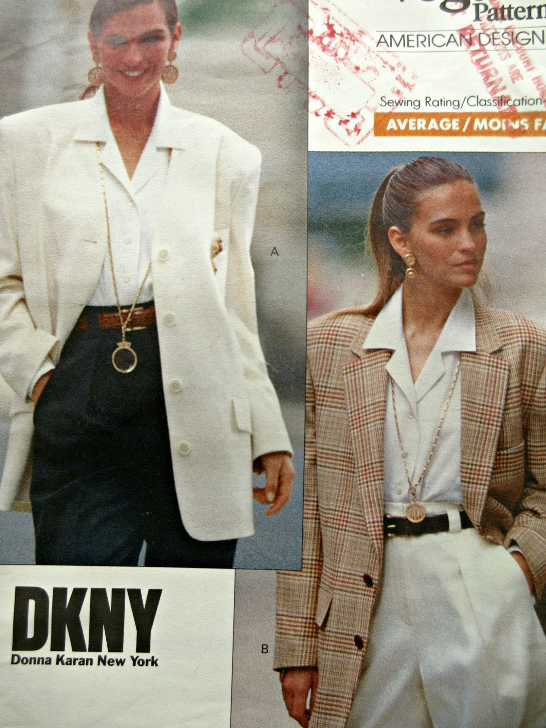 Vintage Vogue 2373 Sewing Pattern, Donna Karan DKNY Pattern, 1980s ...