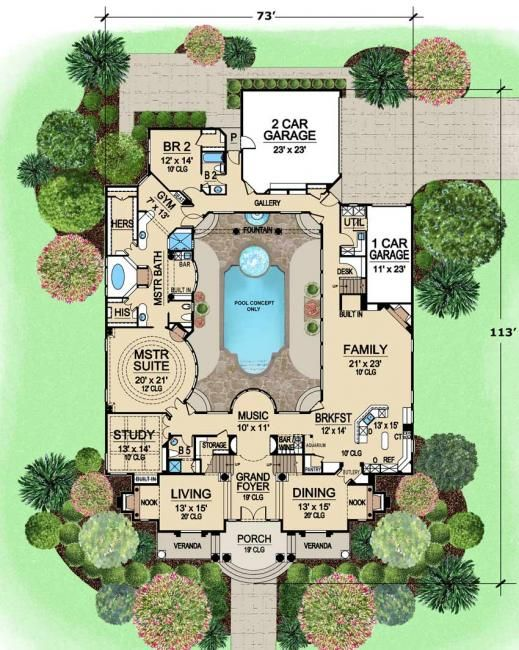 Pool In The Middle Of The House Is Kind Of Cool The Rest Of The House Needs To Be Reworked Don T Need Three C House Blueprints House Plans Luxury Floor Plans