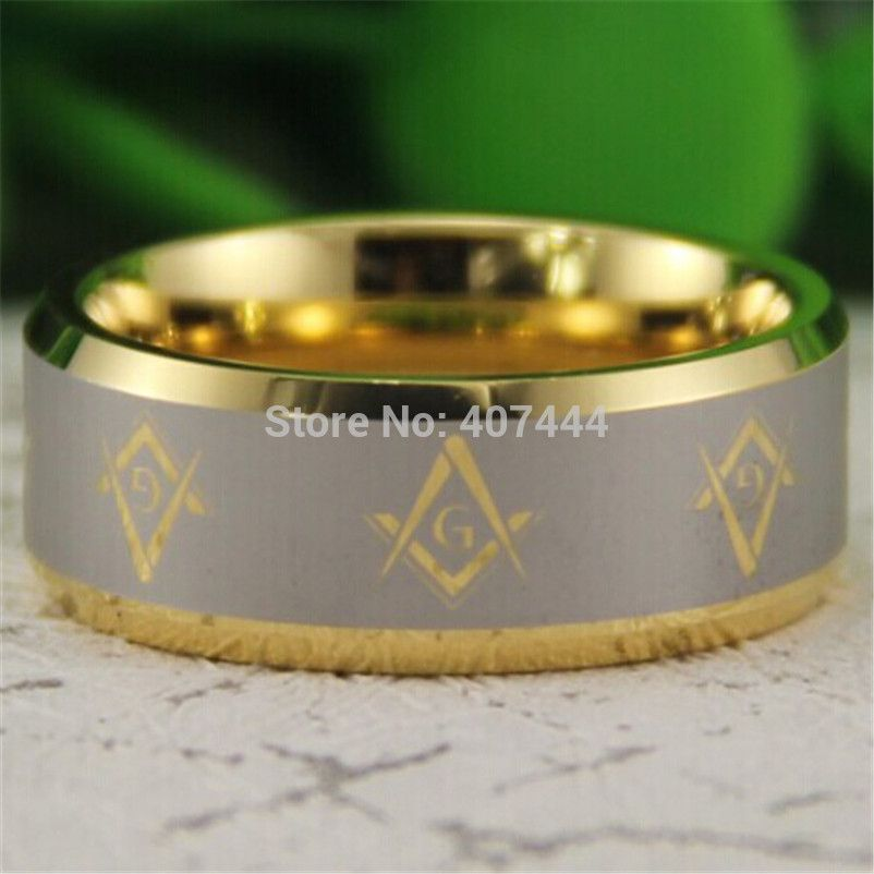 YGK Tungsten Ring YGK JEWELRY Hot Sales 8MM Gold Color Bevel Freemason Masonic Men's Comfort Tungsten Wedding Ring