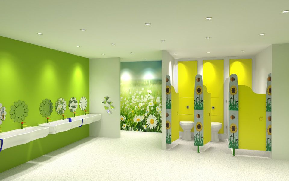 Nursery toilet cubicle designed for children with ...