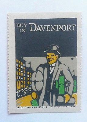 JM# OLD CINDERELLA POSTER STAMP - BUY IN DAVENPORT IOWA REAL ESTATE VINTAGE