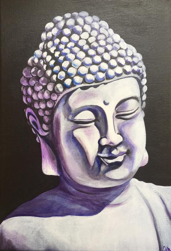 Buddha painting canvas, original Wall Art, Zen Painting, Spiritual, Wall Decor, Buddha Face mystical #buddhadecor