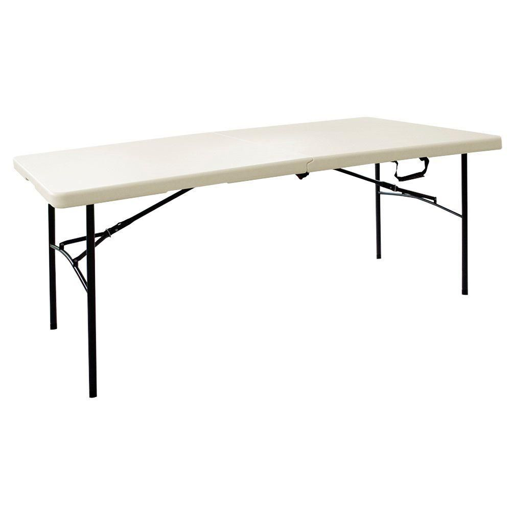 6 ft. L Fold-in-Half Table in Earth Tan (2-Pack)