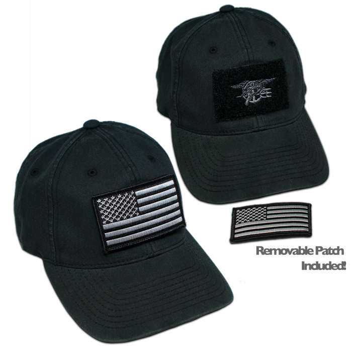 b7eb4c86 Black Flex Fit Velcro Hat with Embroidered Black Trident - Black/Grey  Removable Black/Grey American Flag patch with Velcro on the Back - Flexfit  Hat by ...