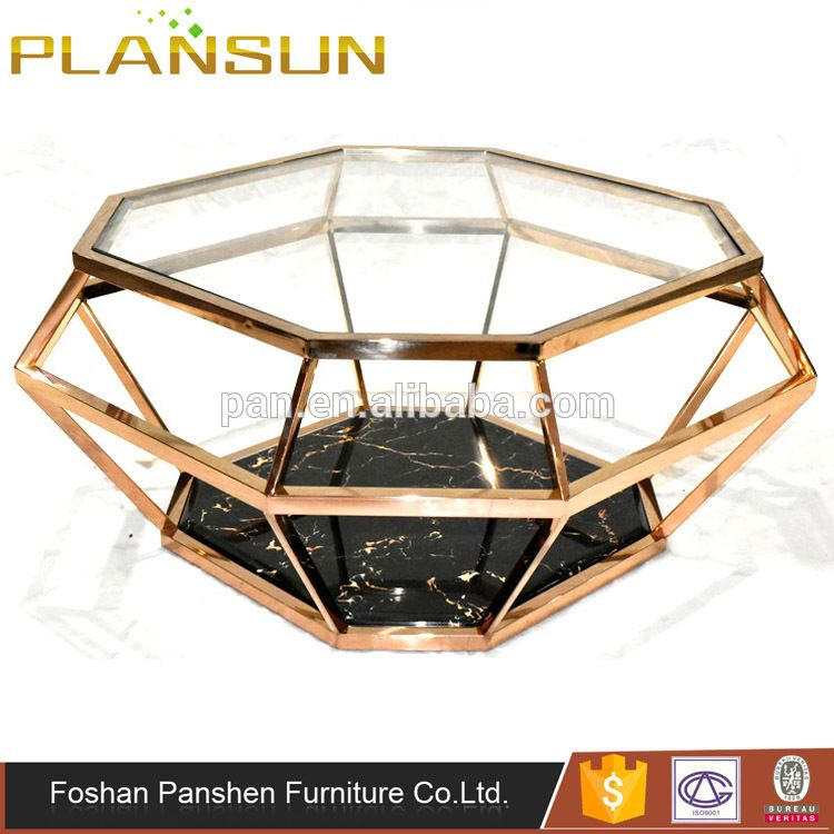 Living Room Furniture Rose Gold Stainless Steel Diamond Shaped