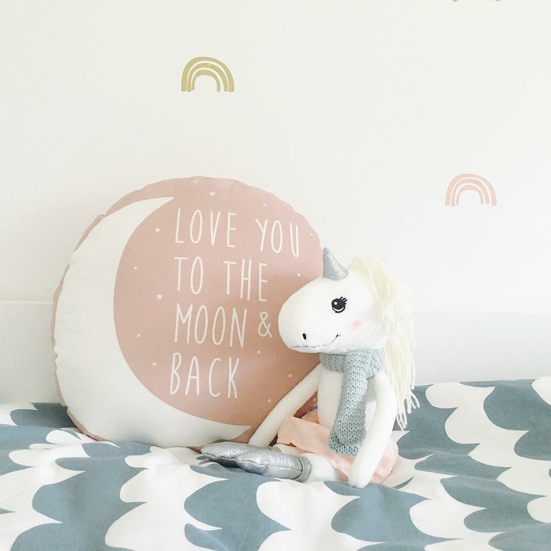 Did you spot the blue Love you to the Moon and Back cushion in our latest David Bowie nursery roomtour ? Here it is in pink ! Photo @kidsplaywithdesign I - - - #kidsinteriors_com #kidsinteriors #kidsinterior #kidsroom #childrensroom #kidsdecor #decorforkids #kidsdesign #kidsroomdecor #childrensdecor #kidscushion #kinderkamer #kinderzimmer #chambreenfant #chambrefille #girlsroom #girlsdecor #barnrum #barnrumsinspo #barnerom #nurseryinspo #nurserydecor #nursery